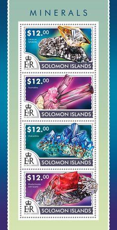 Post stamp Solomon Islands SLM 15213 aMinerals (Calcite on Sphalerite, Tourmaline, Chalcanthite, Rhodochrosite with Quartz)