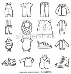 Baby clothes icons set.Clothing for boy. Isolated vector illustration on white background.