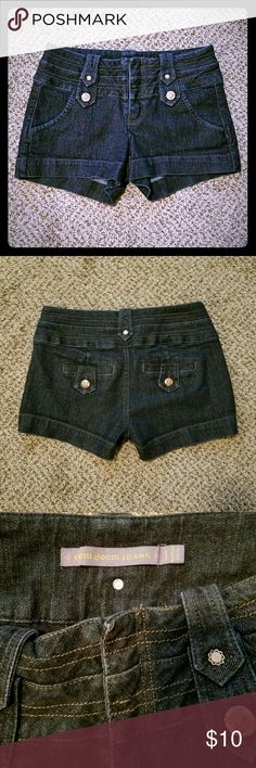 🌻 SALE Dark Denim Jean Shorts Boom Boom Jeans dark wash blue jeans shorts. Only wore 2 times, excellent condition. Size 1 will fit 0 or a 1. Boom Boom Jeans Shorts Jean Shorts