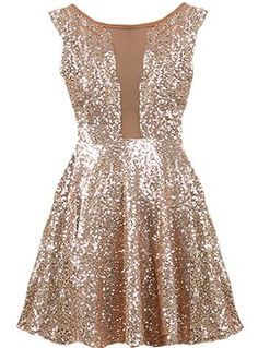 New Year's Kiss Dress: Features a cleverly designed bodice with taupe mesh paneling to the front and upper back, glittering ash gold sequin foundation, figure flattering empire waist, and a twirl-worthy A-line skirt with to finish.