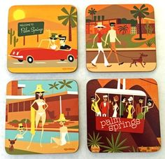 """Image of Assorted Coaster Set of 4 w/Stand - """"Palm Springs"""" Themed"""