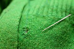 How to fix a hole in a knit garment