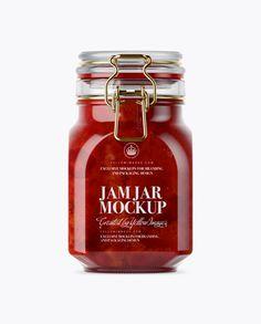 900ml Strawberry Jam Glass Jar w/ Clamp Lid Mockup - Front View (Eye-Level Shot)