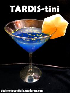 TARDIS-tini 2 oz Hpnotiq 1 oz crème de violette ¾ oz vodka ½ oz blue curaçao Mix all ingredients in a shaker, shake and strain into chilled stemmed cocktail glass, garnish with an orange wheel cut ...