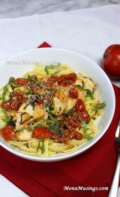 """Menu Musings of a Modern American Mom: Tomato Basil Chicken. My husband said it was""""fancy"""" :) the fresh ing. make all the difference Pasta Recipes, Chicken Recipes, Dinner Recipes, Cooking Recipes, Healthy Recipes, Pasta Dishes, Food Dishes, Food Food, Main Dishes"""