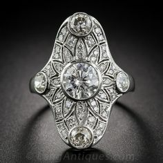 1.25 Carat Center Diamond Art Deco-Style Dinner Ring