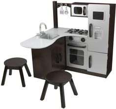 Can't decide which kitchen set we like best! Here's one of our top choices. KidKraft Modern Corner Kitchen w/Stools - Espresso Diy Play Kitchen, Toy Kitchen, Kitchen Sets, Real Kitchen, Play Kitchens, Backyard For Kids, Diy For Kids, Gifts For Kids, Espresso Kitchen