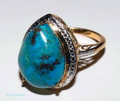 big and bold genuine chrysocolla pear cut cabochon ring set in sterling with 14k gold overlay size 10 shipping included within Canada & U.S by RetroRecyclables on Etsy