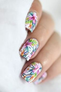 Marine Loves Polish: Summer is not over yet! - tropical nail art - milv water decals Plus Funky Nail Art, Funky Nails, Cute Nail Art, Beautiful Nail Art, Cute Nails, Gorgeous Nails, Pretty Nails, Beautiful Women, Spring Nails