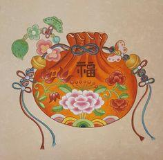 며칠전 수업용으로 그린 복 주머니예요^^ 오늘도 시위가 있을 예정인 종로에 수업하러가고 있어요~~ 오늘은... Painting Of Girl, Painting For Kids, Fabric Painting, Art For Kids, Korean Painting, Chinese Painting, Chinese Art, Geisha Kunst, Geisha Art