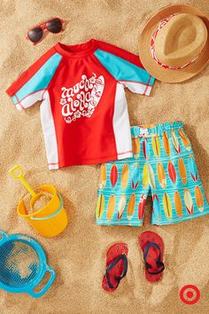 Fun in the sun? Yes, please! Outfit your baby boy in the cutest surf-inspired swimwear for a day at the beach. The elastic-waist surfboard swim trunks and coordinating rash guard will have him ready to make some waves (and, will help keep him protected from the sun with UPF 50+ sun protection). And, don't forget the sweet sunglasses, fedora and flip-flops!