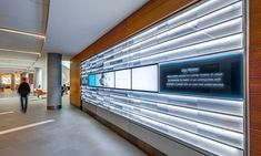 At Mercy Health's new West Hospital in Cincinnati, Kolar Design created a dramatic 24-ft-long donor recognition wall