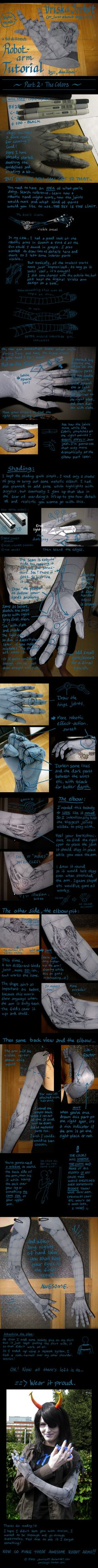 Really cool fabric sleeves painted with machinery for a robot arm.