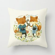 Fox Friends Throw Pillow by Teagan White - $20.00