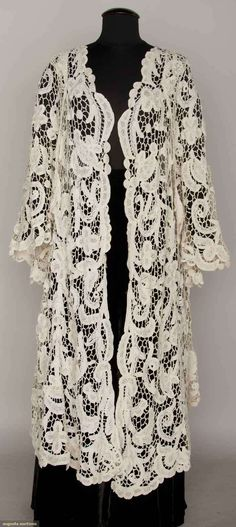Edwardian Tape Lace Coat, Sleeveless With Long Over-Cape, Raised Floral With Needle Lace Filling And Brides