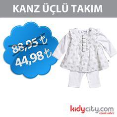 Minik bebeğimize bu takım çok yakışacak! Kanz Üçlü Takım kidycity.com'da etiketin yarısı fiyatına.