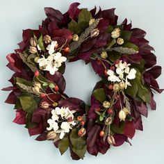 Burgundy Rosehip and Hydrangea Wreath ~ from Kate Coury's Farmhouse