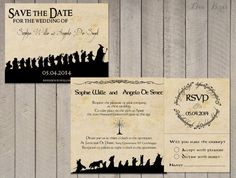 Lord of the Rings Wedding Invitation Set - Save the Date, Invitation, RSVP - Digital file - by SophiesLoveBirds on Etsy