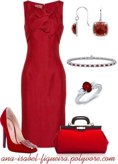 """""""Woman in red"""" by ana-isabel-figueira on Polyvore"""