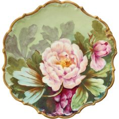 French Limoges LDBC Flambeau Artist Signed Hand Painted Peony Plate Circa 1900