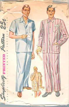 """Vintage 1951 Simplicity 2051 Men's Pajamas Sewing Pattern Size Medium  Chest 38""""-40"""" UNCUT by Recycledelic1 on Etsy"""