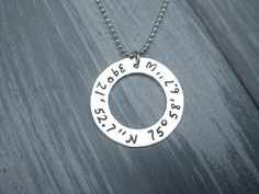 Latitude Longitude Necklace 925 Sterling Silver by ESDesigns14