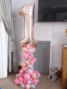 organic balloon display for a 1st Birthday.