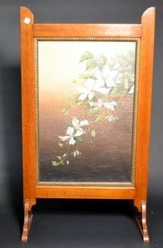 """Hand Painted Botanical Oil on Canvas, single panel screen with wood frame. Size : 27"""" x 48"""""""