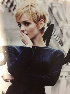 Blond pixie cut retro girl