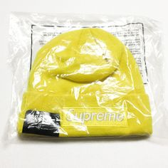 SUPREME Box Logo Beanie Yellow 2016FW Newera New Era 100% AUTHENTIC  #SUPREME #Beanie