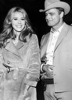 Jane Fonda and Marlon Brando on set of 'The Chase' (1966)
