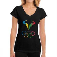 Rio 2016 Olympic Rafael Nadal Bull Logo Women's V-neck T-shirt [Nov-women-0830] - $15.99 : tshirtulike