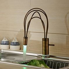 Rozin® Classical LED Light Swivel Spout Kitchen Sink Faucet Single Handle Deck Mount Mixer Tap Antique Brass Rozinsanitary http://www.amazon.com/dp/B0107PHDXE/ref=cm_sw_r_pi_dp_xViTvb1M8V7H1