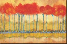 Amber Afternooon Riverbank Stretched Canvas Print by Toy Jones at Art.com