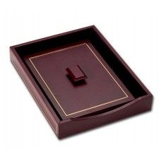 Desk Supplies>Desk Set / Conference Room Set>Holders> Files & Letter holders: Burgundy Leather 24KtGold Tooled Letter Tray w/Lid