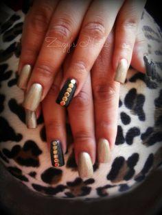 Gold and black nails  Gold studs nailart