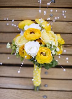 Yellow and White Summer Hand-Tied Bouquet Idea | Afloral.com But with the plum and lavender.