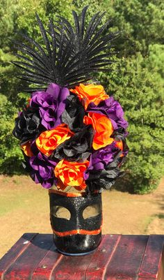 This item is unavailable Mardi Gras Centerpieces, Wedding Centerpieces, Flowers Wine, Wedding Events, Wedding Themes, Halloween Items, Masquerade Party, Wedding Boxes, Handmade Wedding