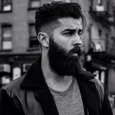 Chris John Millington - full thick dark beard and mustache beards bearded man men mens' hairstyles hair cut barber grooming bearding #beardsforever