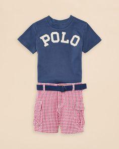 Ralph Lauren Childrenswear Infant Boys' Tee & Gingham Shorts Set - Sizes 3-24 Months
