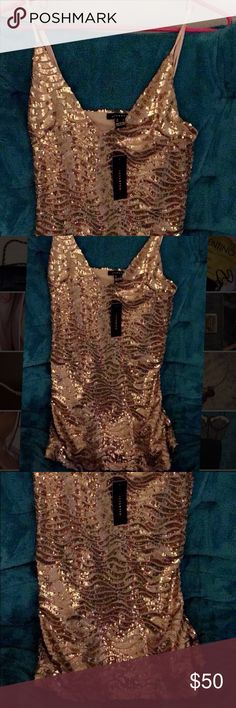 NWT gold dress Super cute, sized small dress perfect for New Years or a celebratory event. When it stretches, had a mesh layer in between Dresses Mini