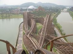 This twisted mass of wood is known as Fireball at Happy Valley Shanghai, China
