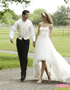 Hi-low wedding gown - daytime appropriate colors, dress can show off boots