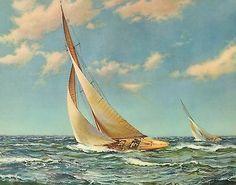 Sailboat Art, Sailboat Painting, Sailboats, Ocean Sailing, Sailing Ships, Ww2 Propaganda Posters, Seasons In The Sun, Vintage Boats, Beautiful Ocean