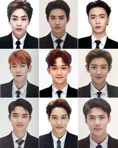 Exo Chanyeol, Kyungsoo, Exo Group Photo, Kai, Exo 12, Id Photo, Exo Lockscreen, Exo Chen, Kpop Exo