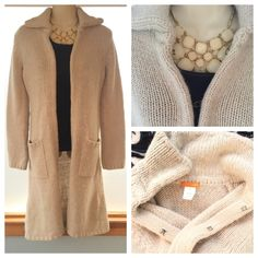 """J Crew 36"""" COZY Duster/Cardigan 60% wool blend with large antiqued brass I-hooks. 24"""" sleeves. This sweater is Super Soft. The photo with the necklace is an accurate color depiction of the dusty beige. It is a Petite Medium. J. Crew Sweaters Cardigans"""