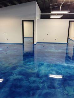 blue epoxy metallic pearls floor