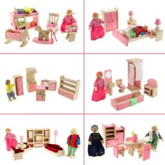 Pink wooden #furniture #dolls house #miniature 6 room set #dolls for children kids,  View more on the LINK: http://www.zeppy.io/product/gb/2/131334830497/