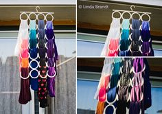 """US furniture and furnishings DIY storage for tights. The IKEA """"complement"""" is perfect! You can hang over 30 tights and it takes Scarf Organization, Home Organisation, Organizing Ideas, Scarf Storage, Diy Storage, Storage Ideas, Scarf Hanger, Ikea Us, Outfits"""