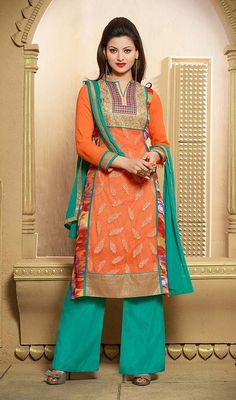 Snap up the style this season wearing on this orange georgette embroidered palazzo suit. The gorgeous digital print, lace, resham and stones work through the attire is awe-inspiring. #LovelySequinsWorkOfCasualWear